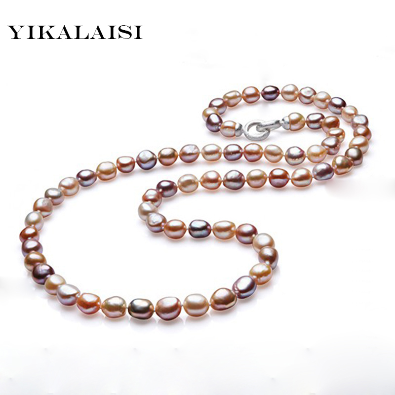 YIKALAISI 2017 100% Genuine Baroque Natural freshwater pearl choker jewelry long necklace jewelry for women white&multi choice