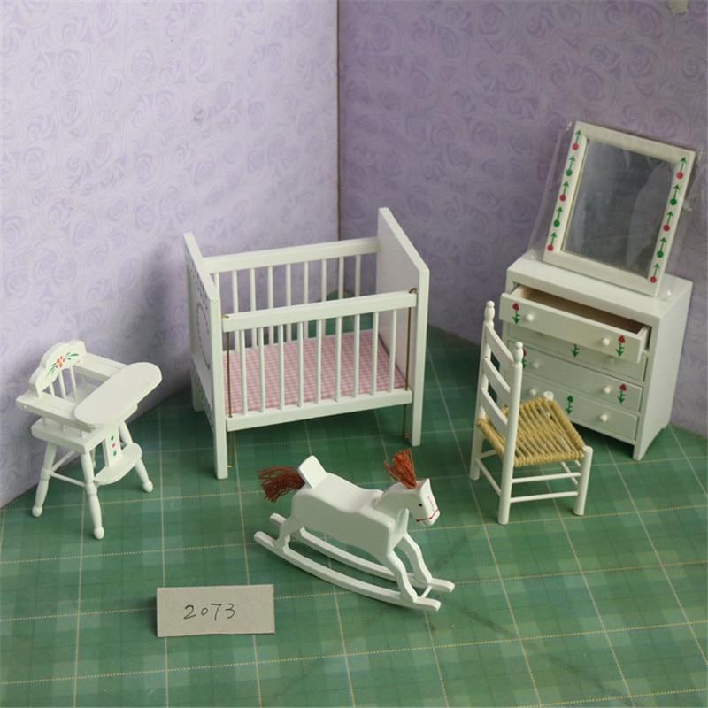 Doub K 1:12 blanc dollhouse miniature en bois Crèche meubles chaise filles enfants jouer à faire semblant jouets cadeaux poupées Meubles jouet