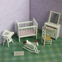 Doub K 1:12 white dollhouse miniature wooden furniture Crib chair girls children pretend play toys gifts dolls Furniture toy