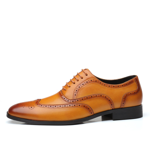 Image 4 - Leather Men Dress Shoes Formal Wedding Party Shoes For Men Retro Brogue Shoes Luxury Brand Mens Oxfords