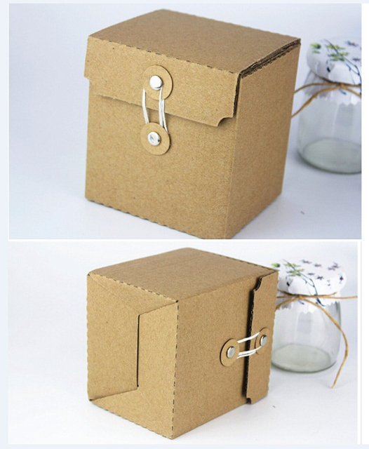 9x8x10cm Small Kraft Paper Vintage Boutique Custom Corrugated