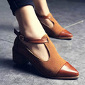 2017 Women Pointed Toe Oxfords British Style Low Heels Patchwork Buckle Oxford Shoes Casual Vintage Shoes Fashion Heels 0430W