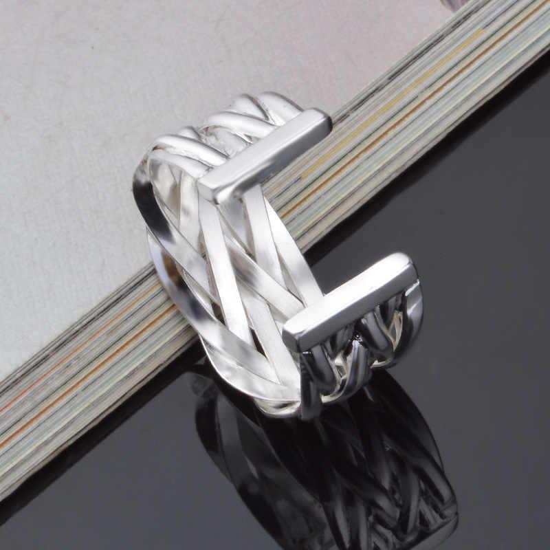 OMHXZJ ขายส่งบุคลิกภาพแฟชั่น OL ผู้หญิงสาวงานแต่งงานของขวัญเงินเส้นทอเปิด 925 เงินสเตอร์ลิงแหวน RN247