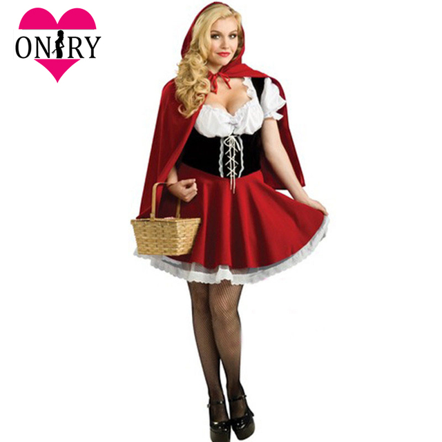 d758ddf93 Halloween Cosplay Plus Size Sexy Adult Little Red Riding Hood Costume Women  Fancy Dress Costumes For Role Playing Games Outfits
