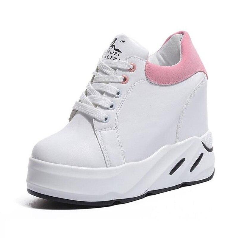 Respirant Casual Dames Sneakers En Croissante Hauteur forme Printemps Automne Black 2018 Femmes Pu Plate pink Formateurs Haute Chaussures Cuir green xqZW8Bza
