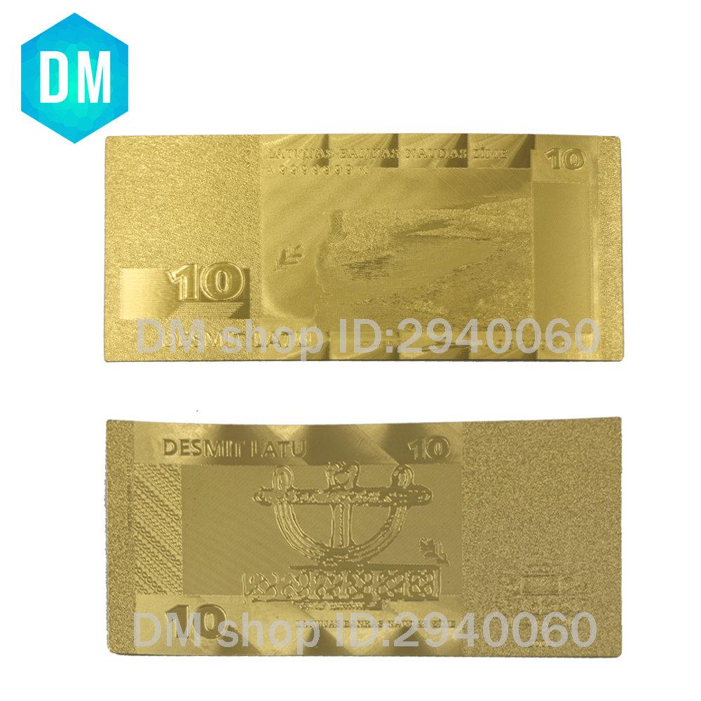 Hot Sale Good Quality Business Gifts 24k Gold Banknote Plated 500 Lat, Latvia Banknote Collection
