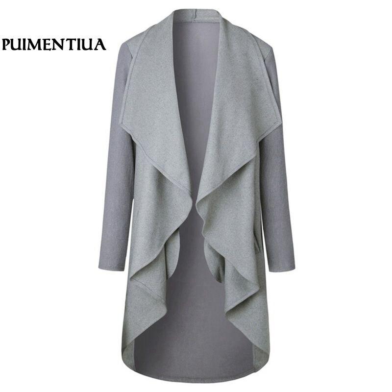 Puimentiua 2018 New Fashion Women Casual Irregular Cardigan Coat Loose Basic Jacket Elegant Office Lady Long Outwear Slim Jacket