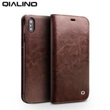 Qialino iphone xs/xr 용 고급 울트라 슬림 수제 전화 케이스 iphonexs max 용 정품 가죽 지갑 카드 슬롯 백 플립 커버