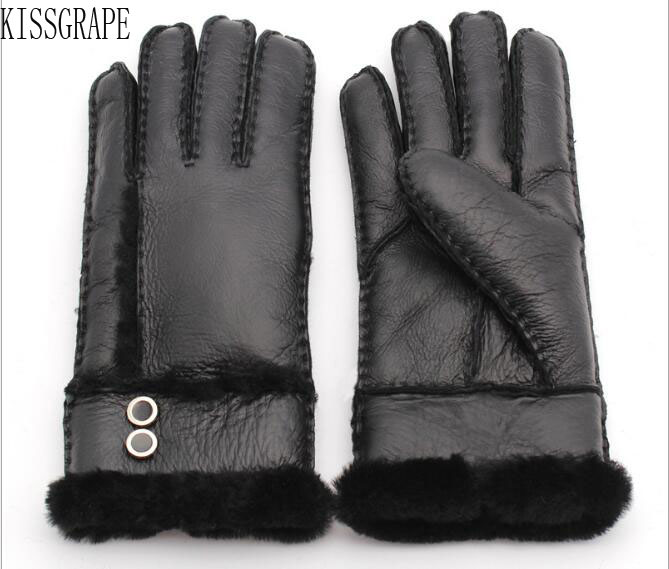 2019 Winter Women's Gloves Sheepskin Fur Warm Gloves Ladies Full Finger Genuine Leather Gloves Mittens Ski Gloves Water Proof