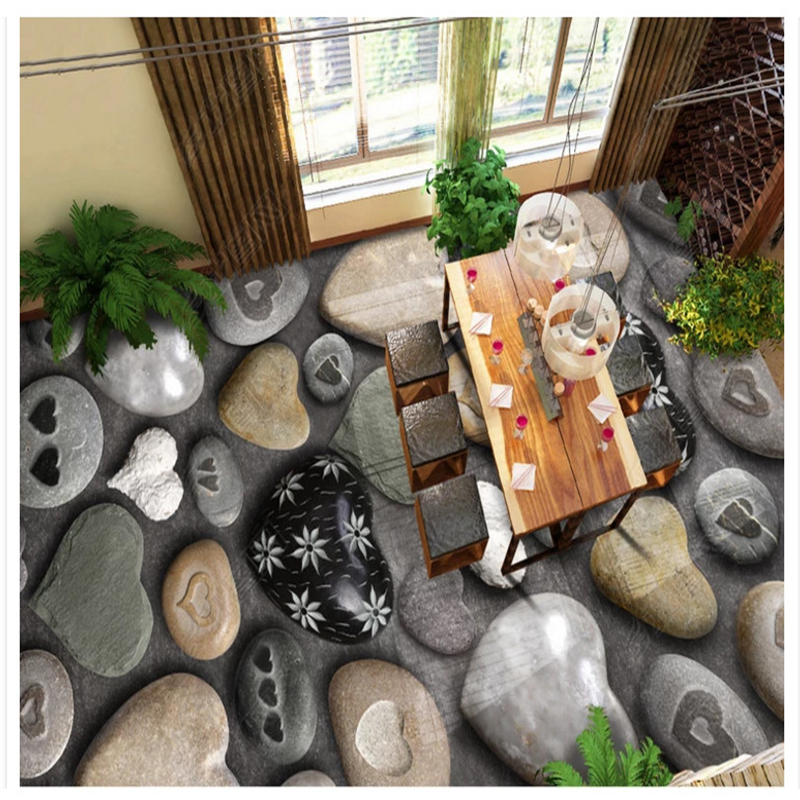 beibehang Custom fashion personality pvc material heart shaped pebbles suitable for floor stereo painting wall papers home decor in Wallpapers from Home Improvement