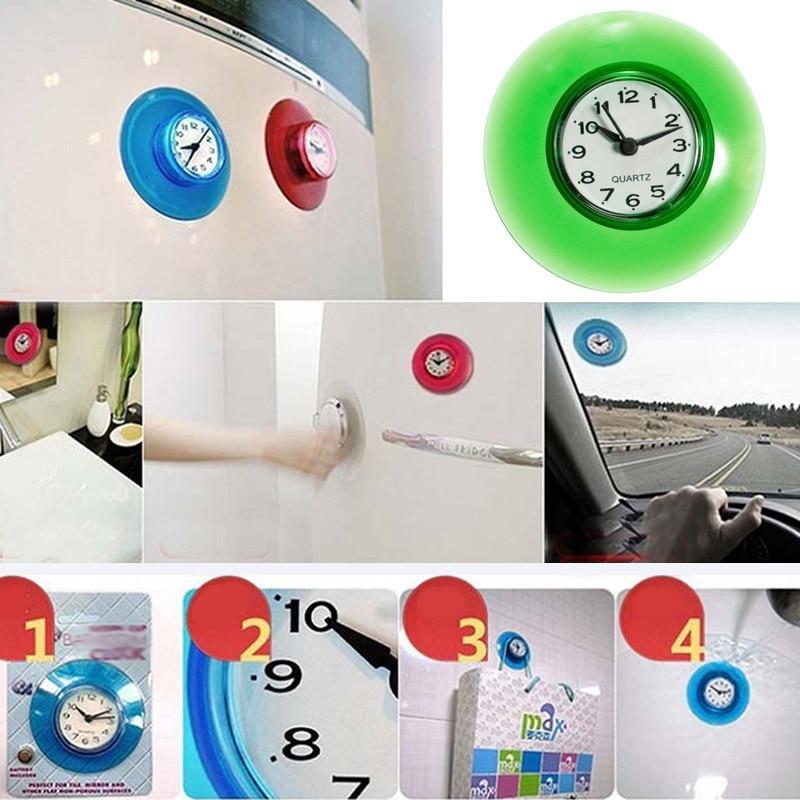 Suction Wall Clock Watch Shower Waterproof Silicone Mirror Timer Sucker Bathroom Decor Wall Clocks For Kids Room Decor Tools