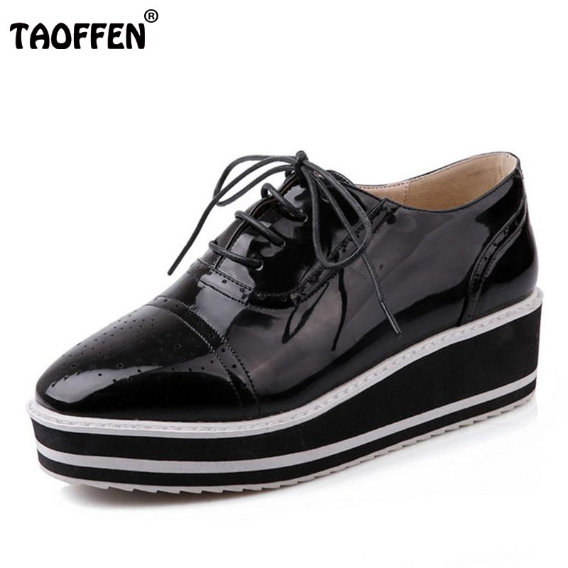 TAOFFEN women high platform shoes patent leather star lady casual fashion wedge footwear heels shoes size 33-48 P16184 nayiduyun women genuine leather wedge high heel pumps platform creepers round toe slip on casual shoes boots wedge sneakers