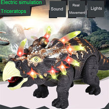 Dinosaur Model Action Figure Walking Triceratops Figure With Lights Sounds Real Movement Kids Toy Model Kit Toys for Children(China)