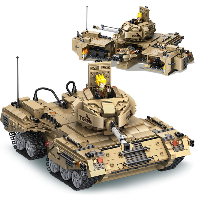 635017 1435pcs Military Base Transformation Tank With Weapon Building Blocks DIY Educational Bricks Toys for children gudi new toys educational assembled military war weapon vehicle tank plane 8 in 1 plastic building blocks toys for children