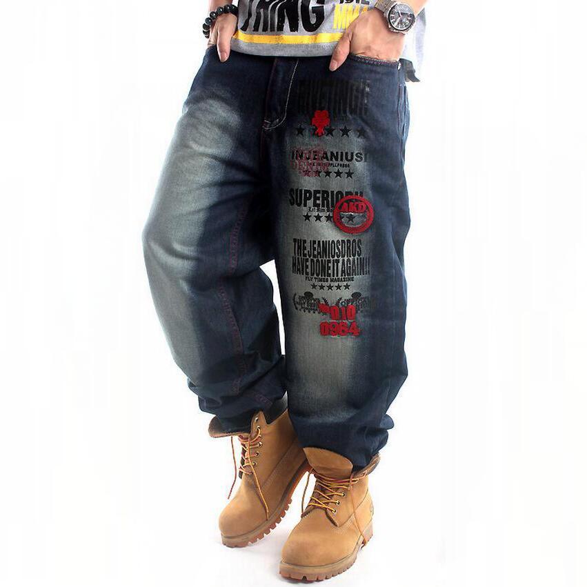 Men Jeans Large Size 30-46 Hip Hop Jeans Men Loose Designer Casual Pants  High Quality Skateboard Denim Skateboard Jean Man hot new large size jeans fashion loose jeans hip hop casual jeans wide leg jeans