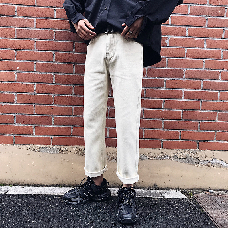 2019 Spring And Autumn New Ins Harajuku Style Jeans Wide Leg Straight Boys Wild Loose Nine Points Pants White 27-34