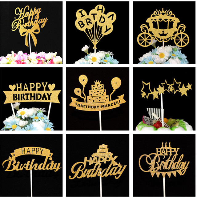 Happy Birthday Cake Topper Party Decorations Kids Baby Shower Boy 50 Decoration Anniversaire Gold