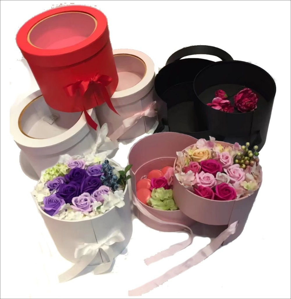 Florist packing box New design two floor can be trun around open PVC window flowers box ,party gitf boxes,buy 2pcs 10% discount image