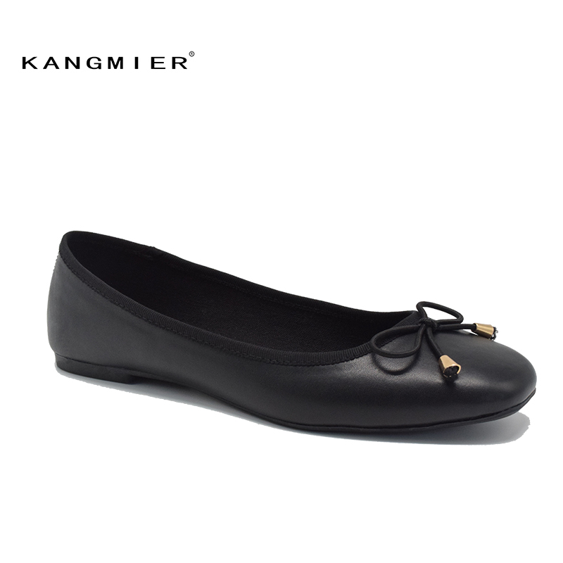 flats shoes women black PU leather Ballerina ballet flats square toe with bow tie 2017 Autumn fashion KANGMIER pu pointed toe flats with eyelet strap