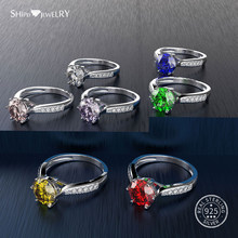 Shipei 7 Color Gemstone Sapphire Ring for Women 925 Sterling Silver Sapphire Citrine Ruby Engagement Promise Ring With Zircon(China)