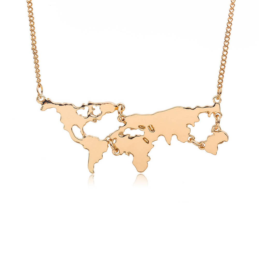 Lot Women Men Necklaces Globe World Map Pendants Gold Silver Black  Link Chain