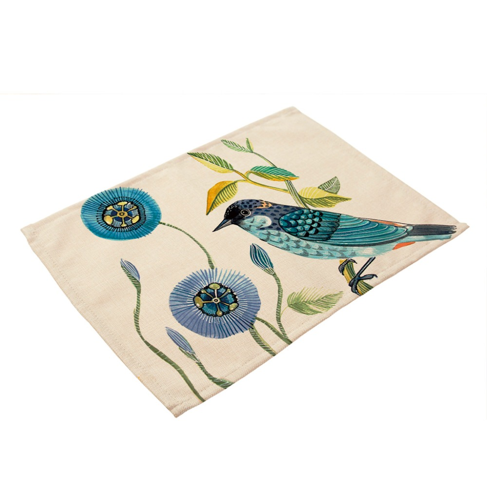 Placemat Table Mat Hand Painted Bird Printed For Tables Christmas ...
