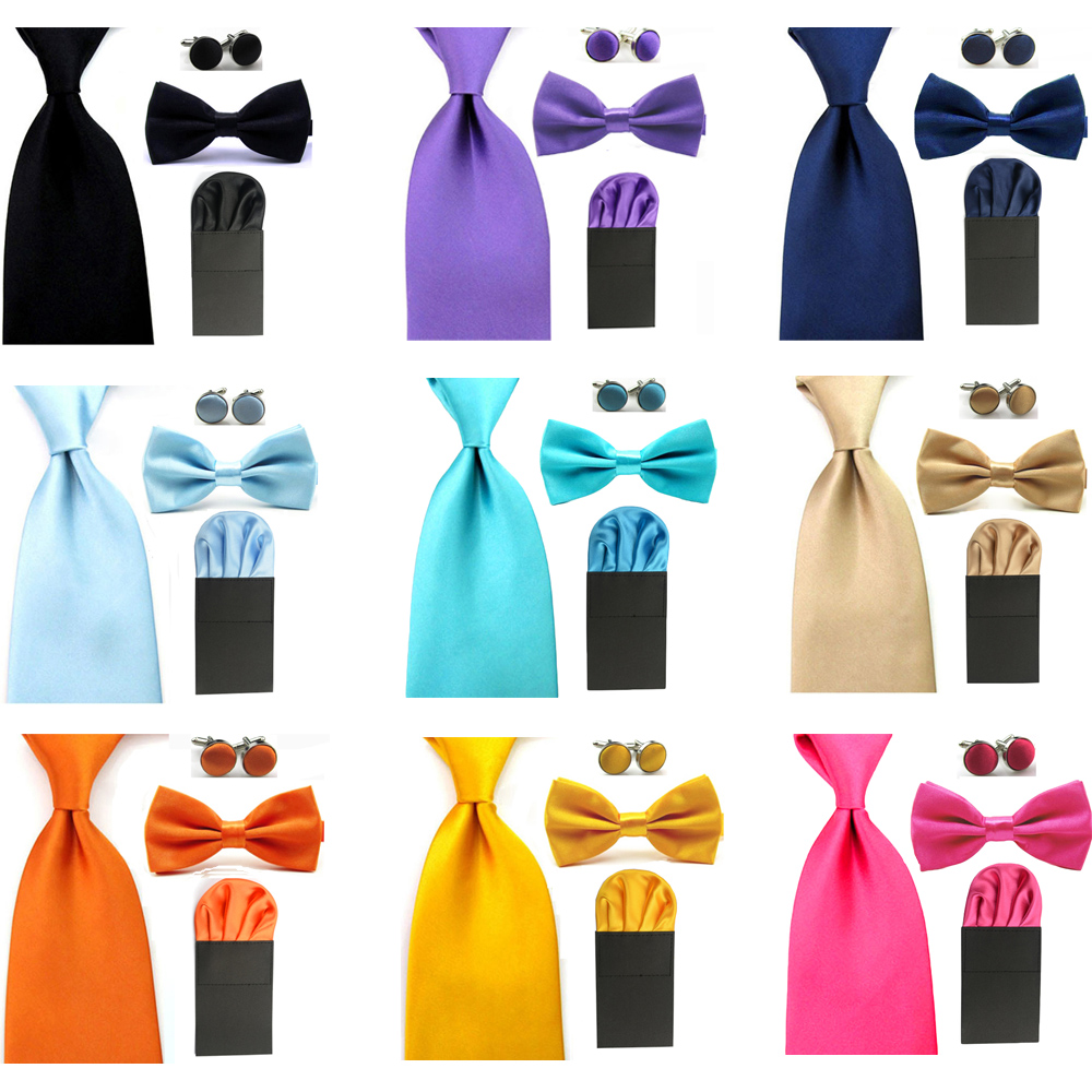 Men Solid Bowtie 8cm Neckties Pre Folded Puff Pocket Square Hanky Cufflinks Set BWSET0053