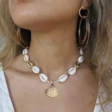 Shuangshuo Fashion Shell femme Necklace Natural Gold Shell Cowrie Necklaces For Women Choker Seashell Jewelry Summer Beach Gifts(China)