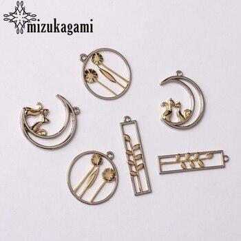 Aleación de Zinc de oro de dos colores chapado Moon Cat encantos 6 unids/lote para DIY moda gota pendientes accesorios de joyería