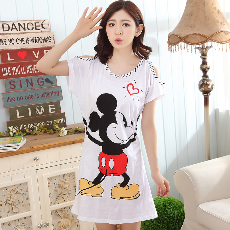 Summer Cotton Sleepshirt Women's   Nightgowns     Sleepshirts   Cartoon Nightdress Girl Sleepwear Femme Pyjamas Women Lounge White Dress