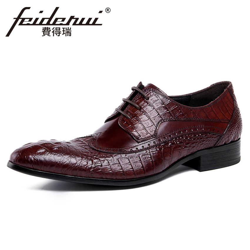 Luxury Alligator Genuine Leather Men's Handmade Carved Oxfords Round Toe Derby Man Formal Dress Wedding Brogue Shoes YMX119 цена и фото