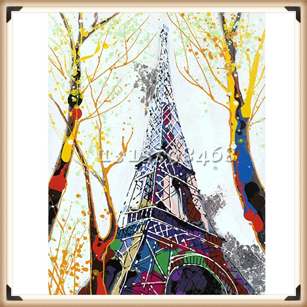 New diamond embroidery 5d diy diamond painting eiffel for Diy mural painting