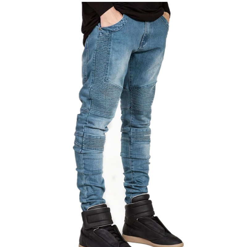 Fashion Hi-Street Mens Strech ripped biker jeans skinny blue Distressed kanye west designer brand hip hop streetwear swag pants