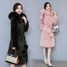 Dupla-face De Lã de Cordeiro Casaco De Pele para o Inverno Mulher Cashmere Casaco de Pele De Vison com Gola de Pele De Raposa