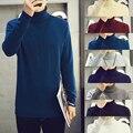 2015 Homens Pullover Camisola Dos Homens Marca Pescoço Roll Puxar Inverno Homme Padrões Camisola Camisolas Dos Homens Malhas de Lã Gola Dupla