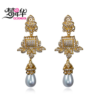 Dreamcarnival 1989 Wedding Party Jewelry Vintage Princess Zirconia Dangle Earrings For Women Gold Color Created Pearl