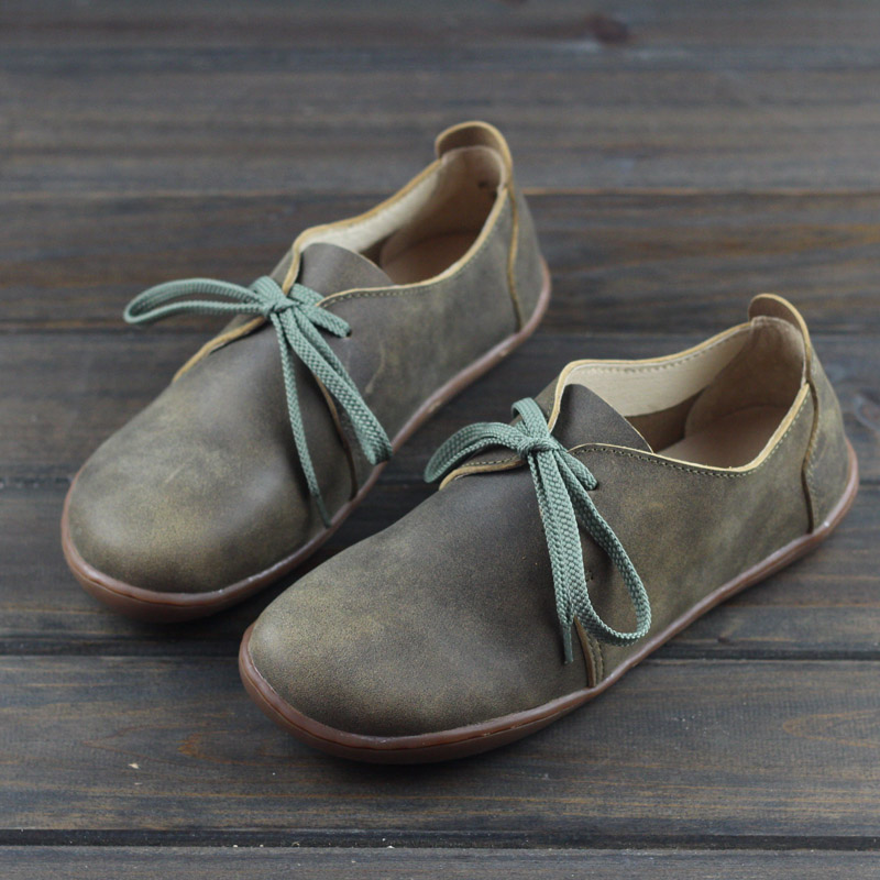 35 42 IMTER Women s Shoes Plus Size Genuine Leather Barefoot Flat Shoes Casual Lace