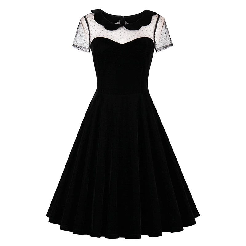 Sisjuly 2018 Summer Female Party Dress Solid Black Dresses Sexy Hollow Out Vintage Gothic Dress Summer Peter Pan Collar Dresses