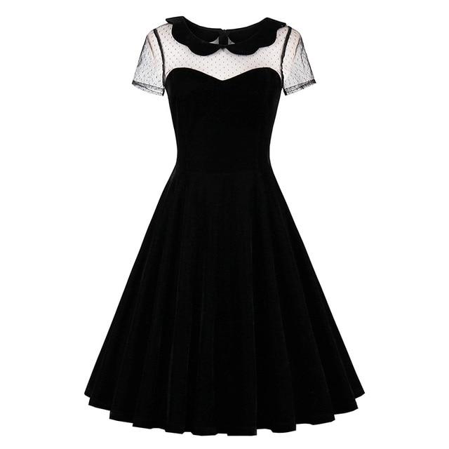 Sisjuly Лето 2017 г. женское вечернее платье однотонные черные Платья для женщин сексуальная выдалбливают Винтаж Готический летнее платье Питер Пэн воротник Платья для женщин