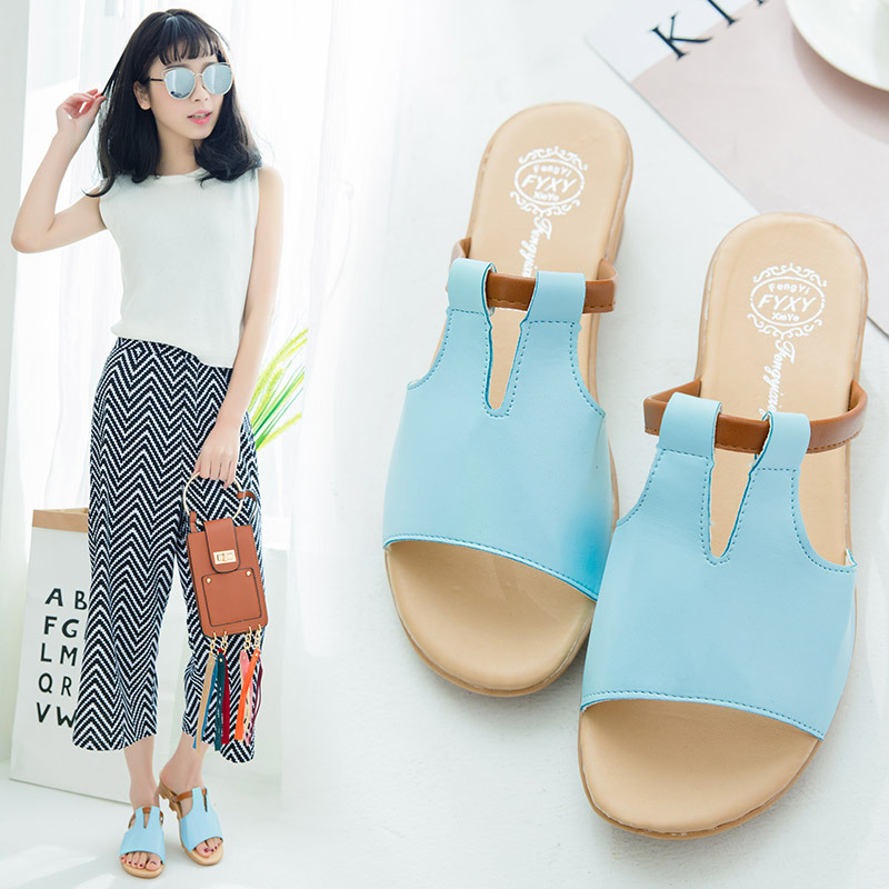 DoraTasia 2019 New Fashion Wedges Med Heels Solid Non-slip Shoes Woman Casual Outside Summer Slippers Big Size 34-41 2