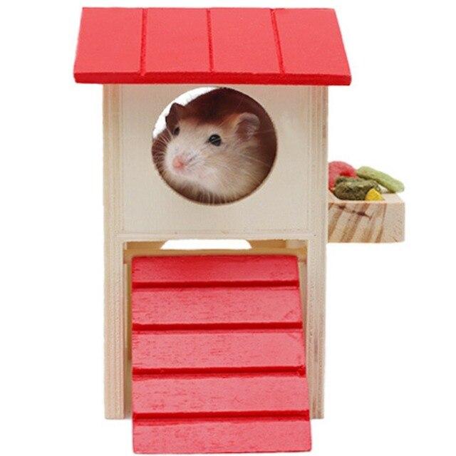ASL Red Roof Крысы Дом Деревянный Хомяк Лестница Pet Малый животное Кролик Мышь Убежище Роскошный Дом 2 Этажный Платформы Театр гнездо
