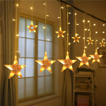 2.2 メートル 108 Led ストリングライト結婚式のパーティーのため 12 ビッグスター窓カーテンつららライトクリスマスパーティー装飾ランプ