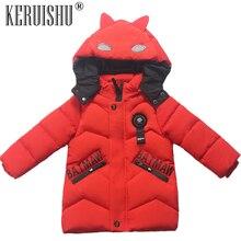 KeRuiShu Boys Baby Warm Parkas Coats Kids High Quality 100% Cotton Filling Thicken Long Outerwear Children Cute Batman Boy Coat