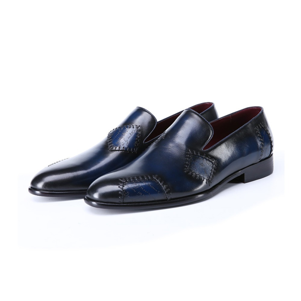 TERSE_5 MOQ handmade leather patch dress shoes goodyear welted genuine leather loafers shoes luxury engraving service footwear