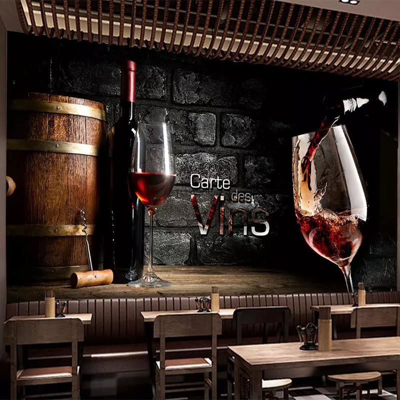 Custom Any Size European Retro Wine Red Wine Photo Wallpaper 3D Mural Bar Living Room Wall Home Decor Wall Cloth Wall Painting