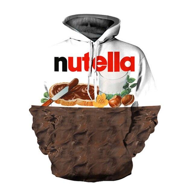 2018 новые модные брендовые пуловеры 3D толстовки Для женщин/Для мужчин Толстовка печати Nutella Еда хип-хоп Повседневное Стиль Топы