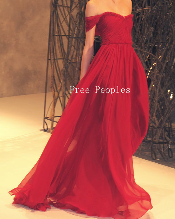 Real Picture 2014 Shoulder Red Floor Length Maxi Prom Dresses, Dresses Prom, - ZORA TREND TRADING CO., LTD store