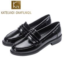 KATELVADI Autumn Japanese Lolita Shoes Women Student Uniform Leisure Black PU Leather Round Toe High-Top Shoe K-479