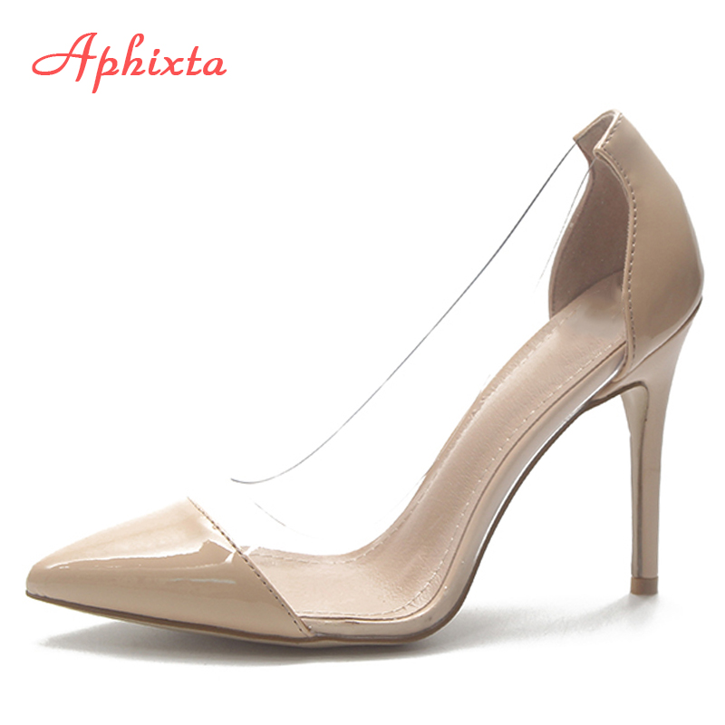 Aphixta Women Pumps Casual Office Lady Shoes Clear Transparent Pointed Toe 9cm Thin Heel Party Shoes Shallow Elegant Women Pump