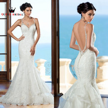 New 2017 Backless Mermaid Sexy Wedding Dress Applique Lace Beaded Wedding Gowns Bride Dresses Vestido De Noiva Sereia R99